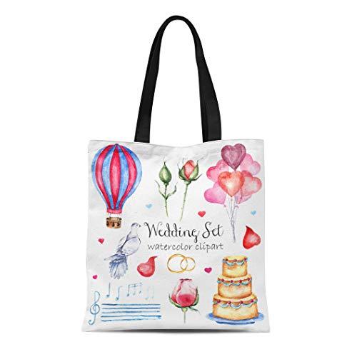 Semtomn Canvas Tote Bag Shoulder Bags Watercolor Modern Elegant Wedding Various Roses Petals Naked Cake Women's Handle Shoulder Tote Shopper Handbag