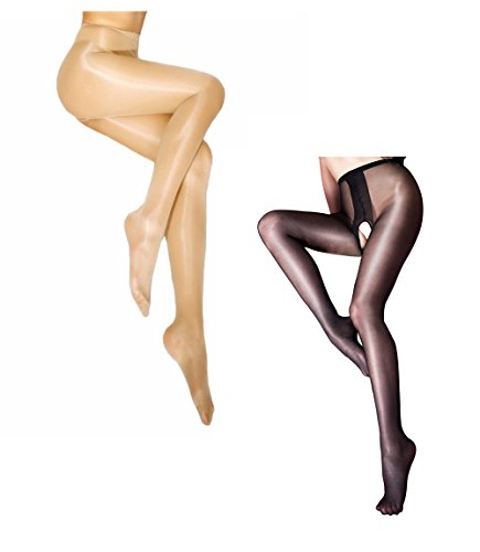 Sexy Women Sheer Open Crotch Pantyhose Ultra Shiny High Waist Tights Crotchless Silky Stockings for Sex Black 1pcs + Nude 1pcs