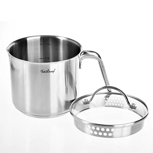 sslang Stainless Steel Saucepan with Glass Cover, 6 Cups Burner Pot ()