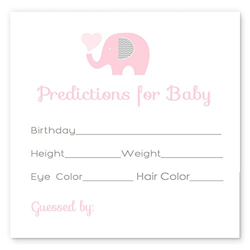 Pink Elephant Predictions for Baby Girls Shower Set of 25 Cards