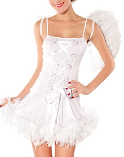 IF FEEL Women Halloween Sexy Charming Angel And Devil Dress Costume Set (One size, White) - Alien Movie Costume Uk