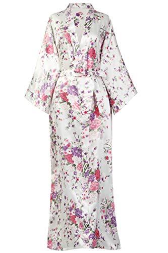 BABEYOND Damen Morgenmantel Maxi Lang Kimono Strandkleid Blütenkirsche Gedruckt Strickjacke Kimono Bademantel Damen Lange Robe Blumen Schlafmantel Girl Pajama Party