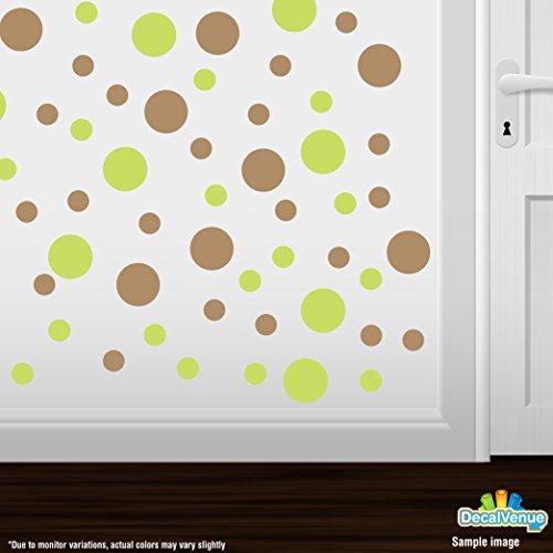 Set of 30 Circles Polka Dots Vinyl Wall Decals (Chartreuse/Light Brown)