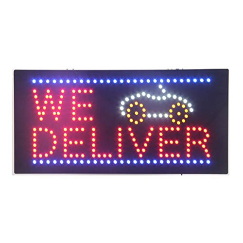 Service Led Open Sign - LED Delivery Service Open Light Sign Super Bright Electric Advertising Display Board for Food Restaurant Grocery Courier Business Shop Store Window Home Bedroom 24 x 12 inches