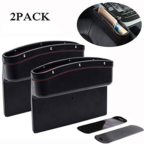 Malluo 2 Pack Car Seat Gap Filler,Car Side Seat Organizer,Car Catcher PU Leather Seat Console Storage Organizer,Drop Caddy Catcher with Non -Slip Mat(All Black)