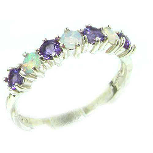 925 Sterling Silver Natural Opal & Amethyst Womans Wedding Ring - Size 5.5 ()