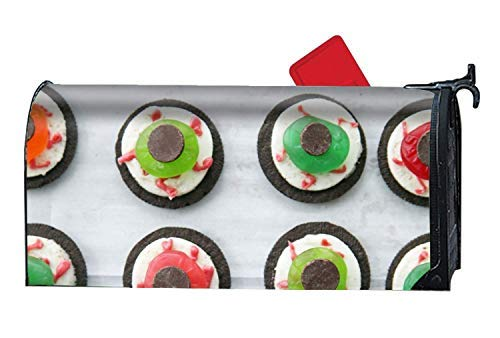Tollyee Welcome Mailbox Cover Halloween Eyeball Dessert Mailbox Wrap Spring, Summer, Fall/Autumn and Winter Magnetic Mailbox Cover 9