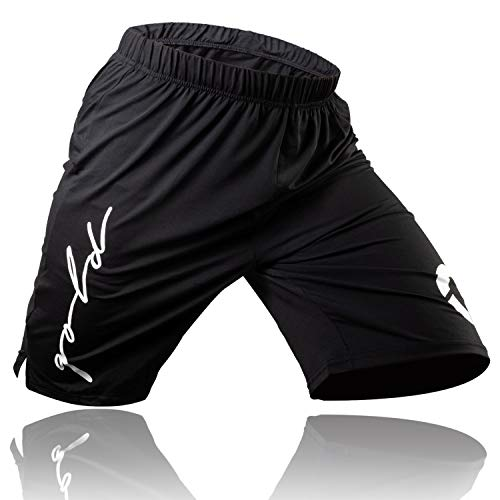 Gold BJJ Jiu Jitsu Shorts - IBJJF Approved No Gi Fight Short - for Grappling, MMA, Wrestling, Muay Thai & Boxing (X-Large) Black