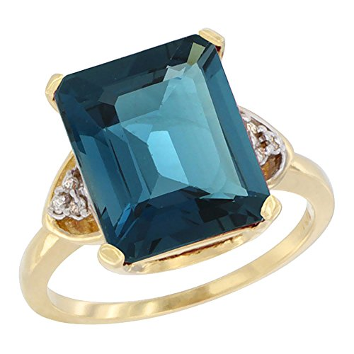 (14K Yellow Gold Diamond Natural London Blue Topaz Ring Octagon 12x10 mm, size 9.5)