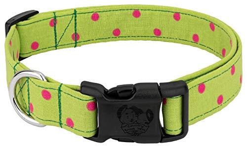 Country Brook Design - Deluxe Lime Green Polka Dots Designer Dog Collar - Large