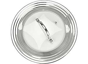 """Elegant Stainless Steel and Glass Universal Lid, Fits All 7"""" to 12"""" Pots and Pans, Replacement Frying Pan Cover and Cookware Lids - Modern Innovations"""