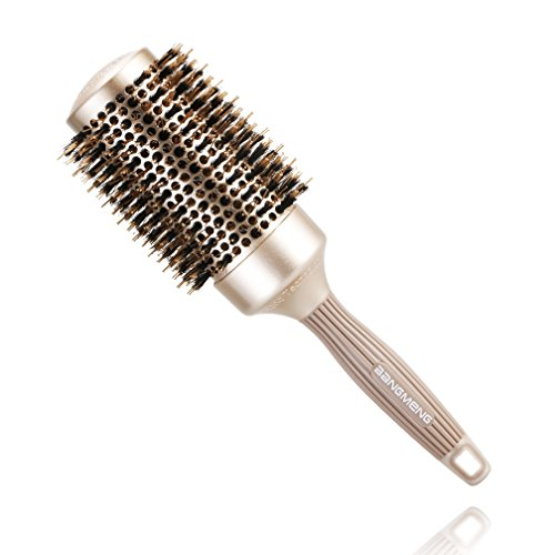 BANGMENG Round Barrel Anti-Static Hair Brush with Boar Bristles, Nano Thermal Ceramic Ionic Tech | For Extra Shine | Protect Hair, Enhance Texture, For Straightening & Drying (2inch)