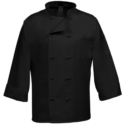 Fame Fabrics 81971 C10F Chef Coat with Long Sleeves, 10 French Knot Buttons, Black, SM