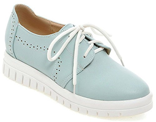 IDIFU Womens Casual Low Heel Heighten Lace Up Oxfords Round Toe Low Top Casual Sneakers Blue ysPEKBO
