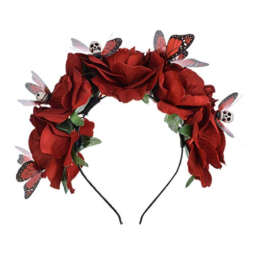 DreamLily Frida Kahlo Mexican Flower Crown Headband Halloween Party Costume Dia de Los Muertos Headpiece NC25 (C-Rose Butterfly Skull) -