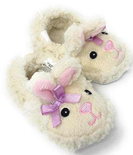 Lamb Sheep Infant Baby Toddler Crib Shoes Fuzzy Slippers, Non-Slip Bottoms (3-6 Months)