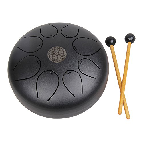 Mugig Hang Drum Steel Tongue Drum, Percussion Tank Drum,8 inch pentatonic scale Hank Drum with Rubber Musical Mallet and Travel Bag Matte Black by Mugig
