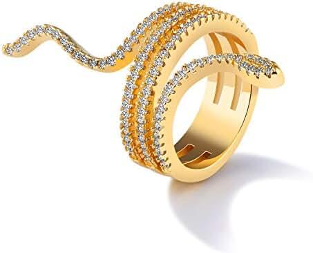 LOHOME Fashion Rings 18K Gold Tone Snake Rhinestone Charm Index Finger Ring for Womens