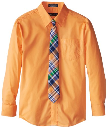 Nautica Dress Up Boys 8-20 Packaged Shirt Sets with Tie, Melon, 10