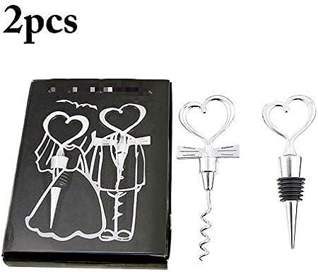 Sacacorchos 2 piezas en forma de corazón con combinación de pareja abridor de botellas de vino