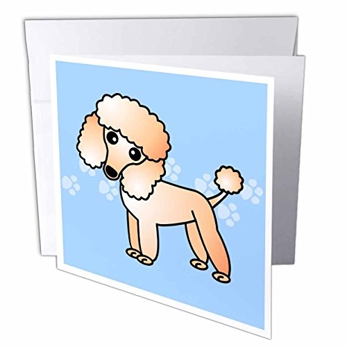 Poodle Note Card (3dRose Janna Salak Designs Dogs - Cute Apricot Poodle Blue Paw Print Background - 12 Greeting Cards with envelopes (gc_13771_2))