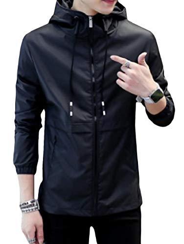 Outwear Mens Zip Tasca Energia Di Maniche Giacca Coulisse Cappuccio Con Nera A Plus size Lunghe rqrP7pw