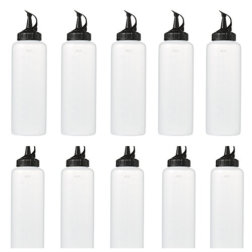 Clear, Plastic Squeeze Bottles With Measurement Marking and Attached Black Caps- Large 16 ounce Size- Perfect for Sauces, Condiments and Dressings- BPA Free- 12 Pack by OXO (Image #9)