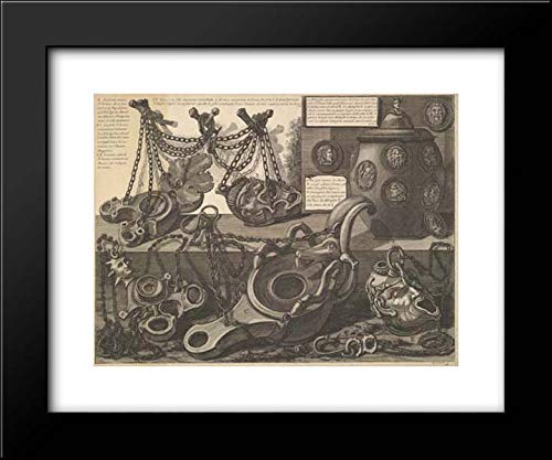 Giovanni Battista Piranesi - 18x15 Framed Museum Art Print- Various Lamps and a vase encusted with Cameos, from Vasi, candelabri, Cippi, sarcofagi, tripodi, Lucerne, ed ornamenti antichi disegnati ed