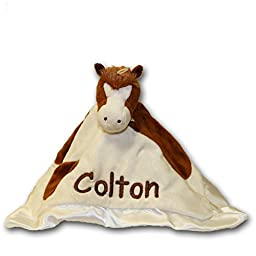 Personalized Spotted Brown Horse Lil Snugglers Baby Snuggle Blanket Gift- 13 Inches