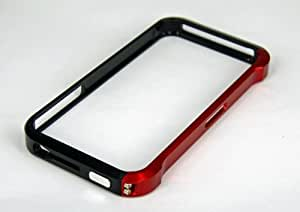 Aluminum Metal Bumper Case for the Apple iPhone 4 4S - Black/Red