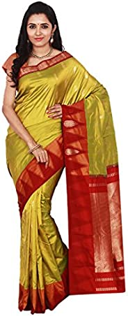 Indian Silks Temple Design Women's Kanchipuram Handloom Pure Silk Saree, With Bl