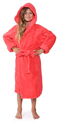Indulge Girls Robe, Kids Hooded Soft and Plush Bathrobe, Made in Turkey (Coral, Medium) -