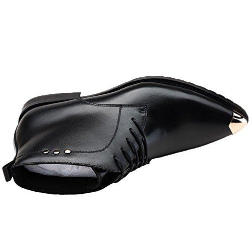 Santimon Boots Men's Dress Derby Shoes Toed up Steel Leather Ankle Black Lace rnfrwxq