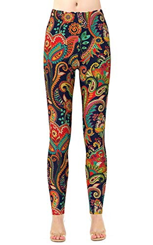 Alaroo Womans Print Pants Brushed Lightweight Skinny Paisley Bohemian Leggings Plus Size