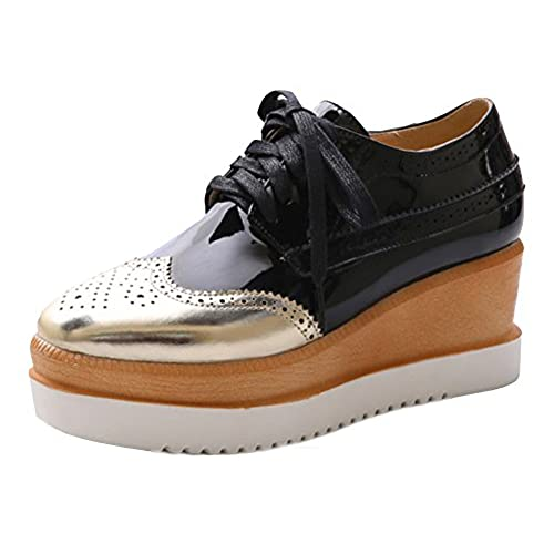 0f207ae9df14 80%OFF Sfnld Women s Trendy Square Toe Brogue Platform Medium Wedge Heel  Lace Up Loafers