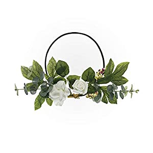 Artificial Rose Flower Wreath Farmhouse Wreath,Wedding Wreaths Front Door Wreath for Floral Home Wall Decor,Mothers Day 94