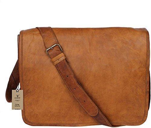 Crafat 15  quot  Mens Genuine Vintage Brown Leather Messenger Bag Shoulder  Sat. ‹ › 954fb4b06ebca