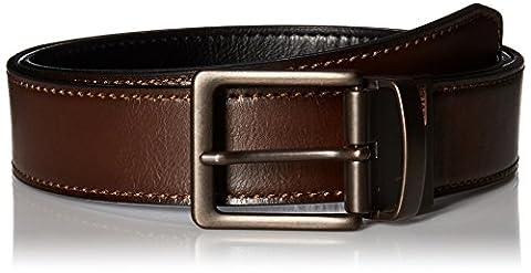 Levi's Men's Reversible Bridle Belt W/antique Finish Buckle,Brown/Black,34 - Mens Bridle