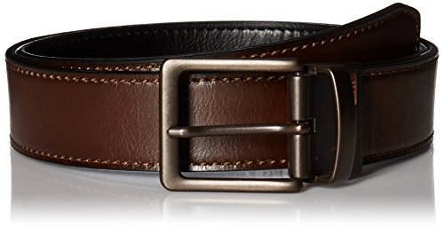 Levi's Men's Reversible Bridle Belt with Antique-Finish Buckle,Brown/Black,36 - Leather Square Buckle Belt