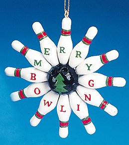 amazon com bowling pins merry bowling christmas ornament 3 5