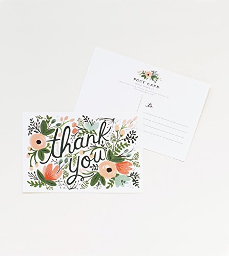 Wildflower Thank You Postcards By Rifle Paper Co. - Set of 10 Cards