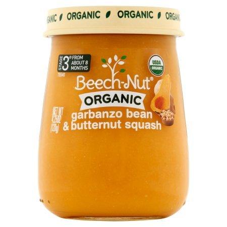 Beech-Nut 4.25 oz Organic Stage 3 Garbanzo Bean & Butternut Squash Baby Food, Pack of 10