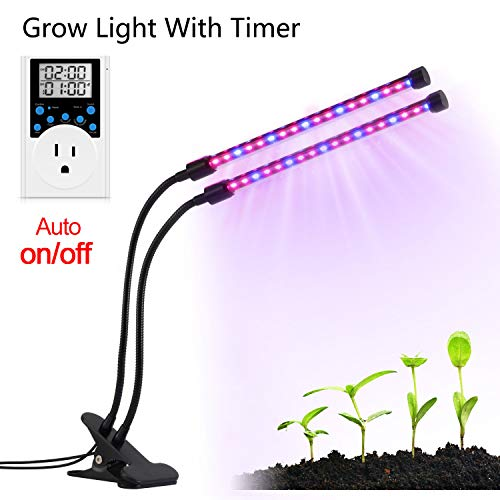 LED Grow Light, Dual-lamp Grow Light Timer 36LED Dimmable 2 Levels Plant Grow Lamp with Outlet Timer and Adjustable 360 Degree for Indoor Plants Seed Starting Greenhouse