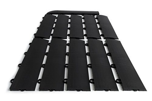 Modular Floor - SnapFloors Female Transition Edge Kit, Durable Interlocking Modular Garage Floor Edging (Compatible with all RaceDeck, GarageTrac and GarageDeck Products), Black, 11 Piece
