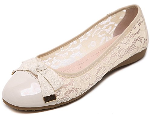 Women's Round Toe Flat Loafers Sweet Casual Shoes with Bow Beige - 8
