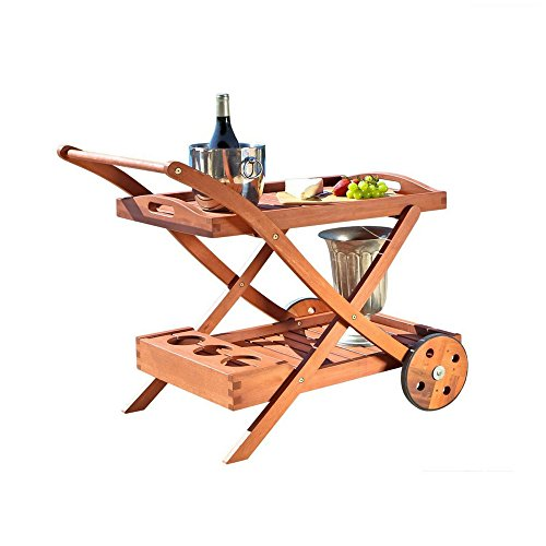 Wooden Serving Trolley Cart Outdoor Garden Pool Patio Kitchen Use Bar Cart Rolling 3 Wine Bottles Storage Removable Serving Tray Towel Bar & eBook by BADA shop from BS