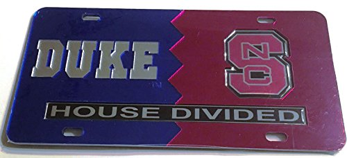 Duke Blue Devils - NC State Wolfpack - House Divided Mirrored Car Tag License Plate Duke House Divided