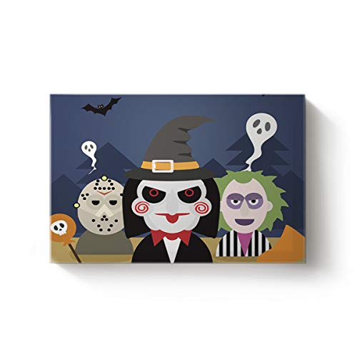 YEHO Art Gallery Rectangle Canvas Wall Art Artworks Home Decor for Bedroom Living Room Hotel,Funny Cartoon Man Happy Halloween Art Post Painting,Stretched by Wooden Frame,Ready to Hang 20