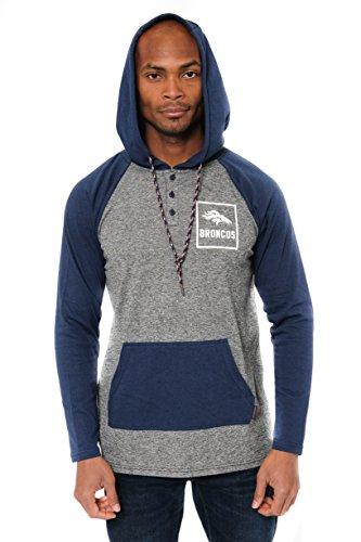 NFL Denver Broncos Men's Henley Raglan Team Color Pullover Hoodie Sweatshirt, Navy, Large