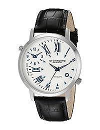 Stuhrling Original Men's 343.33152 Classic Polaris Swiss Quartz Date and Dual Time Zone Black Watch